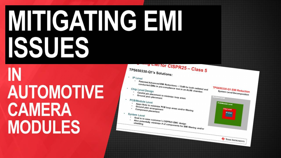 Mitigating EMI issues in automotive camera modules