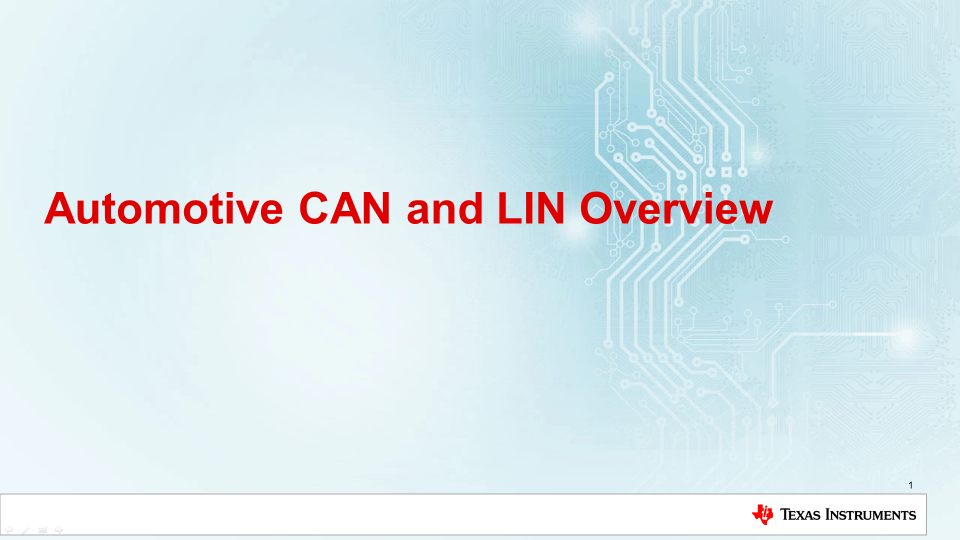 Automotive CAN and LIN Overview