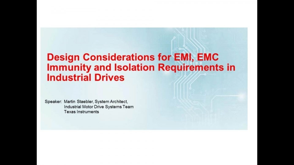 EMI_EMC_Isolation requirements for Industrial Drives Training