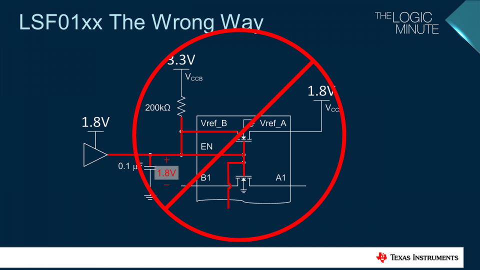 Example incorrect circuit for the enable pin of the LSF.