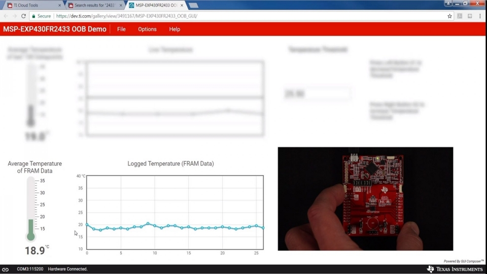 Temperature sensing demo using the MSP-EXP430FR2433 LaunchPad development kit
