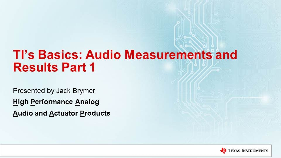 Audio Measurements and Results