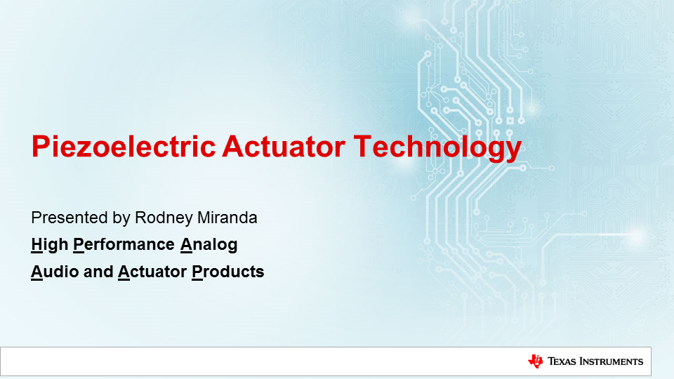 Audio and Actuator Technology training series