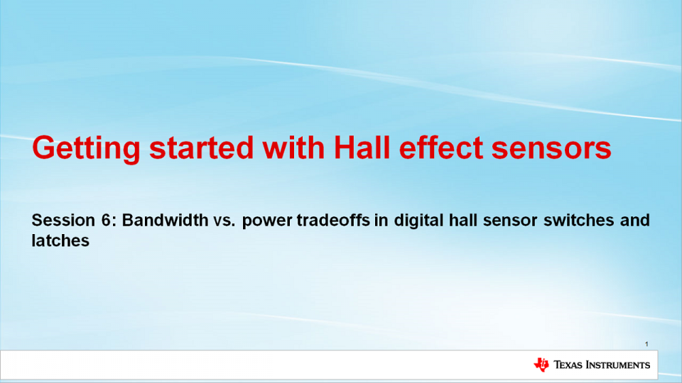 Bandwidth vs. Power Tradeoffs  in Hall Effect Sensors