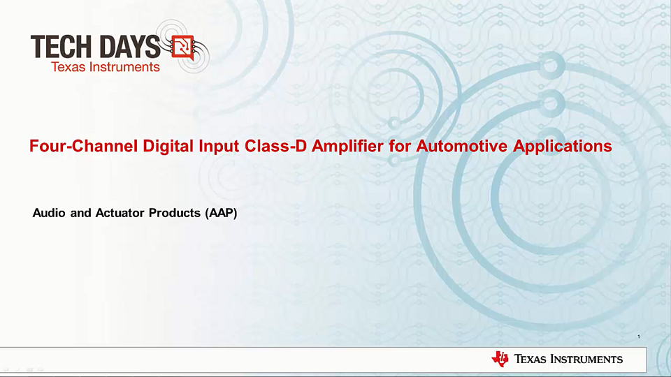 Four-Channel Digital Input Class-D Audio Amplifier for Automotive Applications