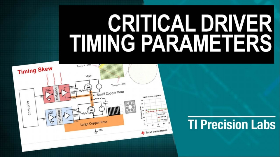 Critical isolated gate driver specifications, such as propagation delay, pulse width distortion, part-to-part skew and common-mode transient immunity