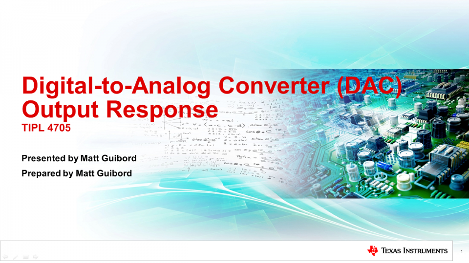 TIPL4705 - High Speed Digital-to-Analog Converter (DAC) Output Response
