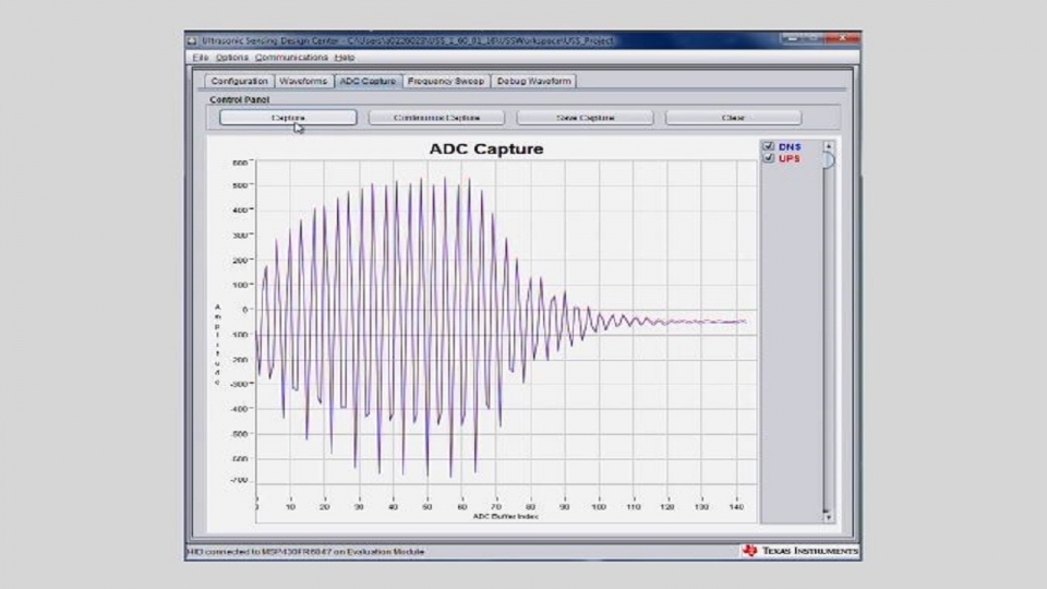 A waveform capture from the MSP430 Ultrasonic Design Center using the MSP430FR6047 MCU.