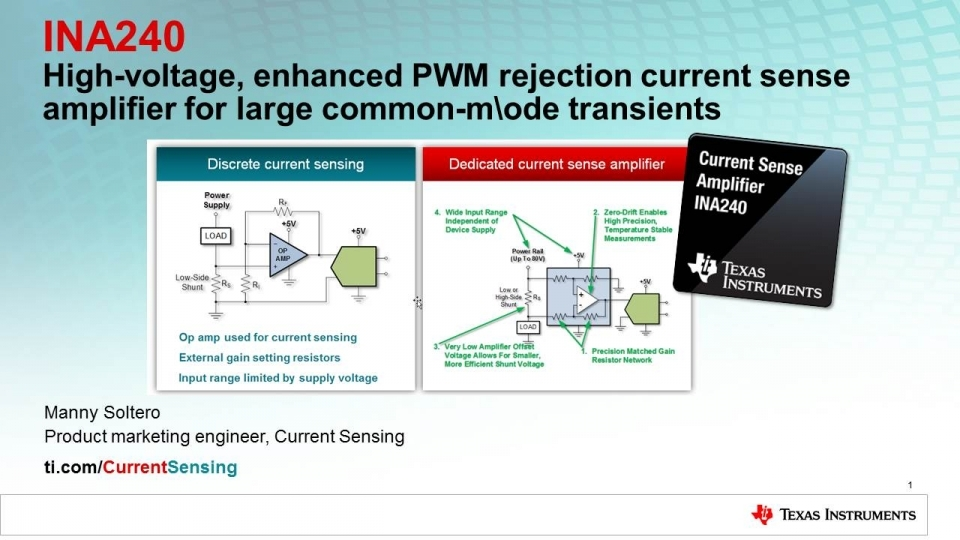 current sensing with enhanced pwm rejection, INA240