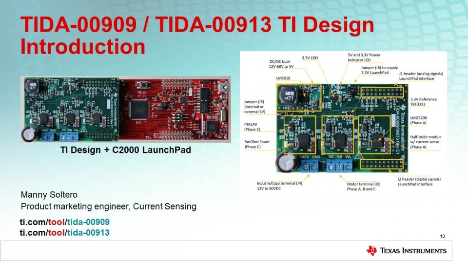3-phase inverter TI Designs, TIDA-00909, TIDA-00913,