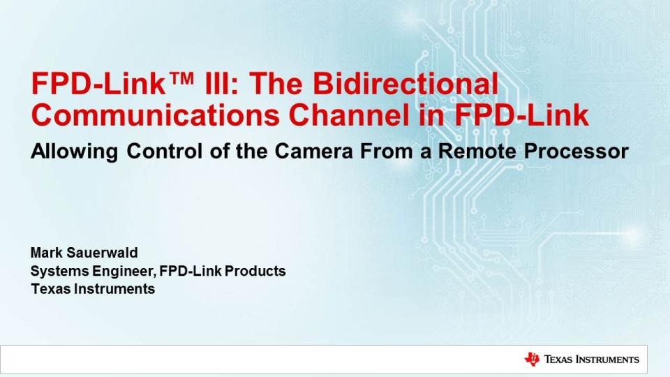 Bi-directional communication channel in FPD-Link ADAS Products