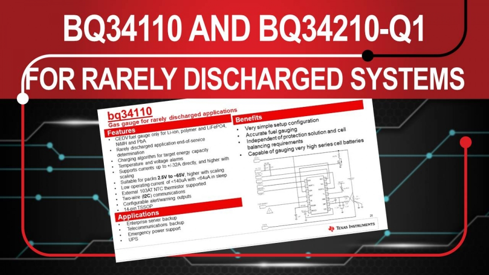 Details of the bq34110 and bq34210-Q1 battery gas gauges for rarely discharged applications