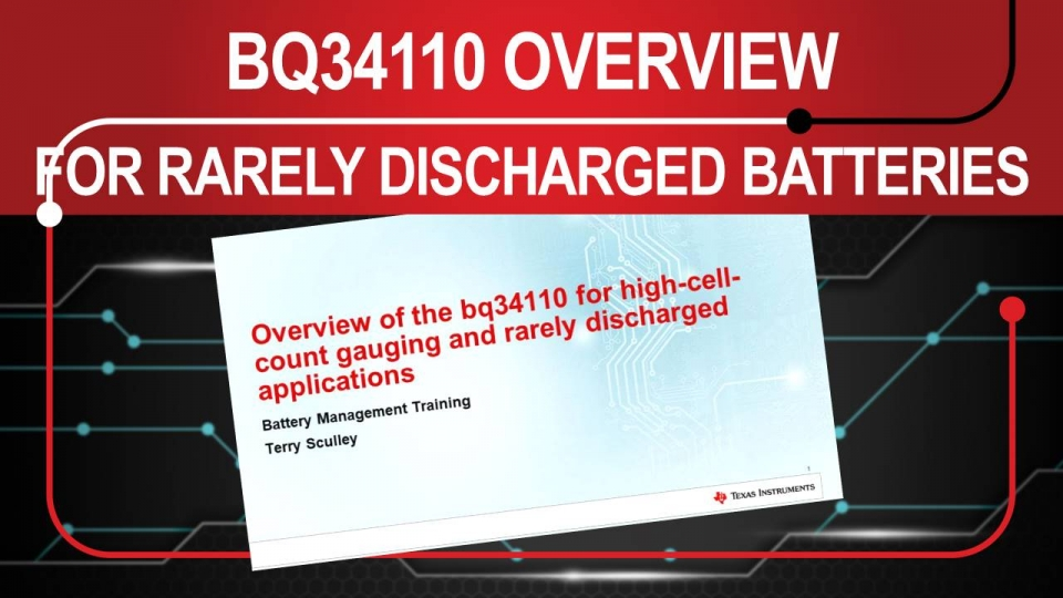 bq34110 for Rarely Discharged Applications - Intro