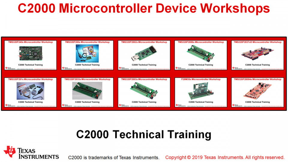 C2000 Microcontroller Device Workshops
