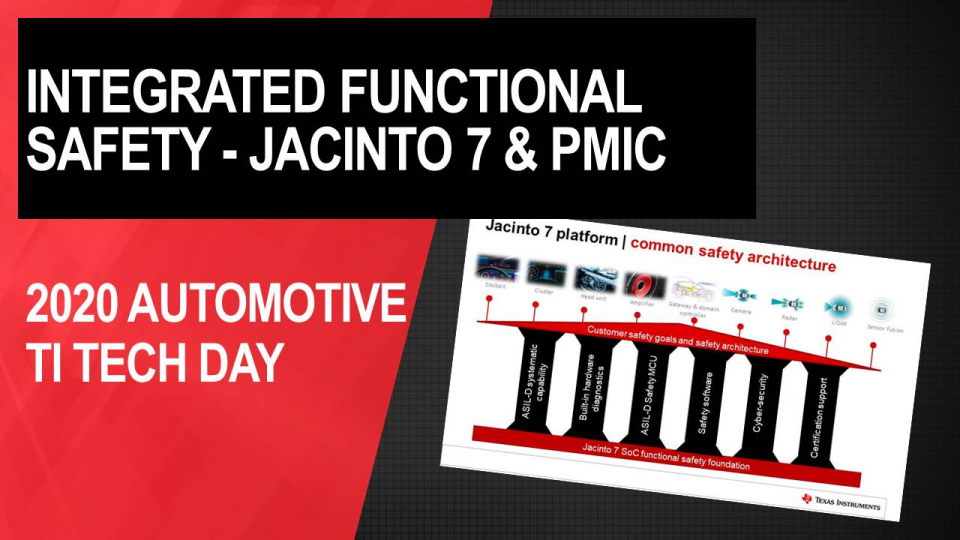 Reduce your design and development effort with integrated functional safety features of Jacinto 7 processors and PMICs