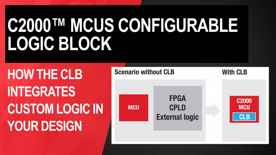 custom logic, clb, c2000, configurable logic block, fpga, cpld, external logic