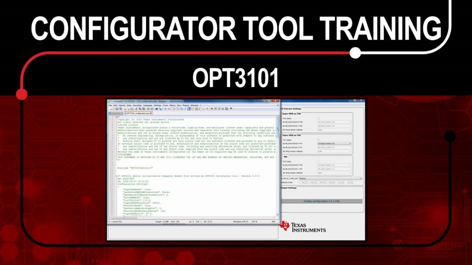 Training on OPT3101 configurator tool