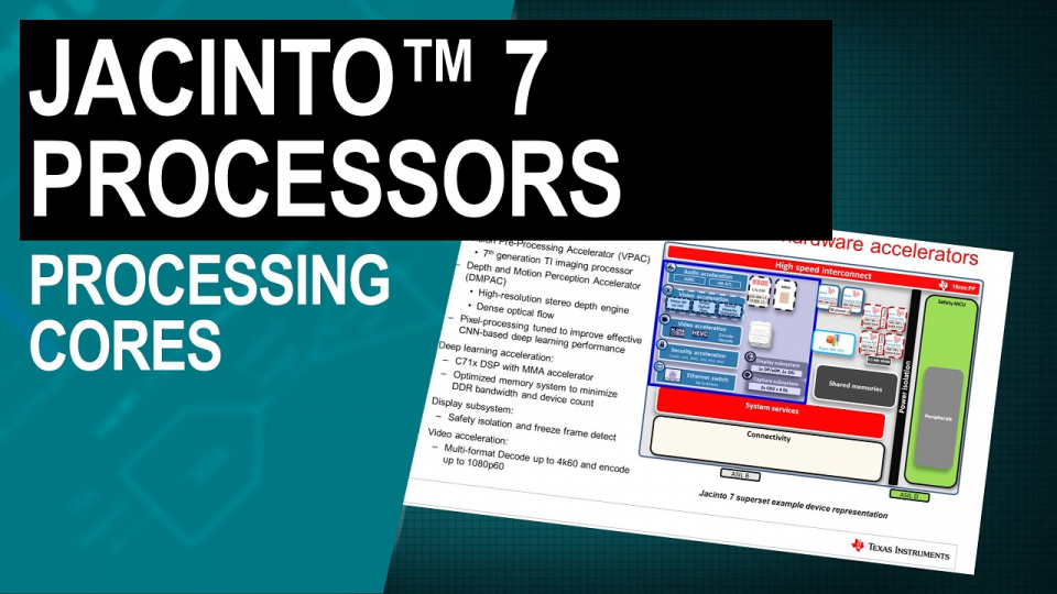 Jacinto 7 processors: heterogeneous processing cores