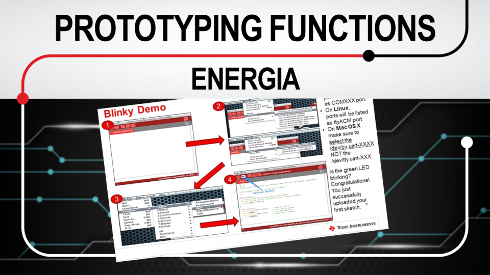 Rapid prototyping functions Energia