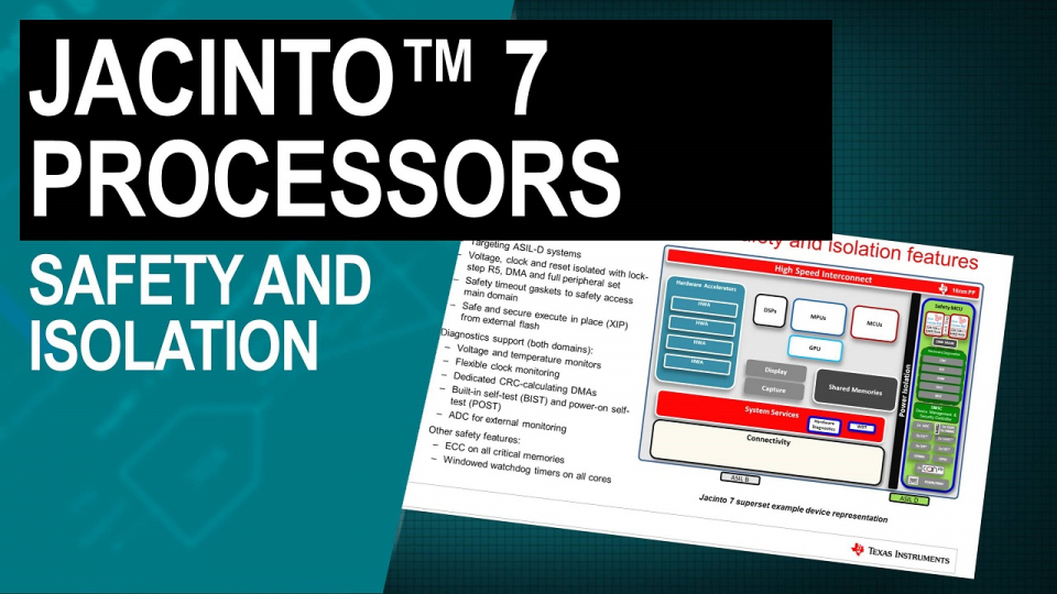 Jacinto 7 processors: safety and isolation
