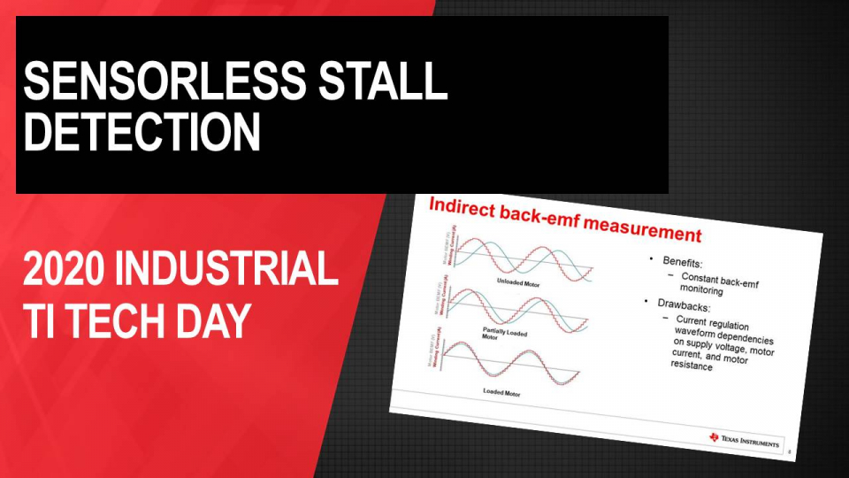 Benefits of sensorless stall detection in stepper motor drivers