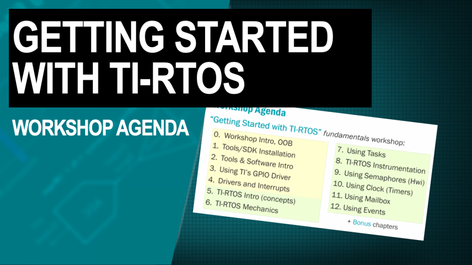 TI-RTOS Workshop Agenda