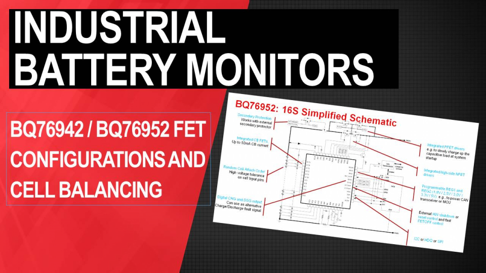 BQ76942 / BQ76952 battery monitors:FET configurations and cell balancing