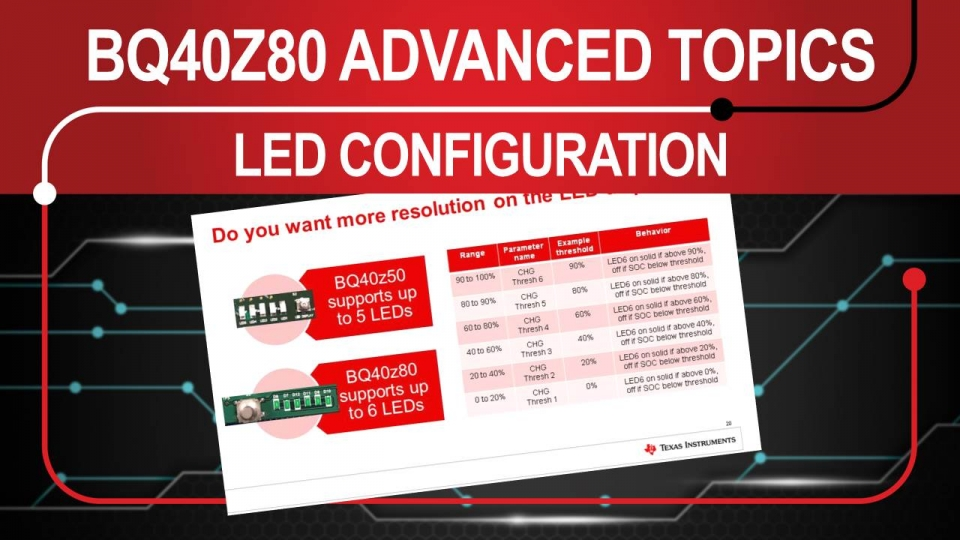 Advanced Topics on the BQ40z80 - LED Configuration