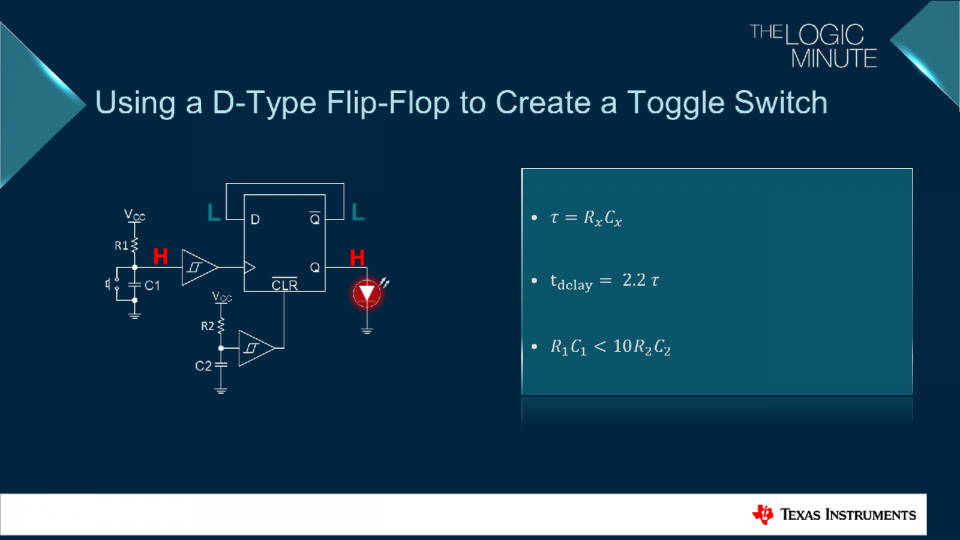 Schematic representation of a D-Type Flip-Flop to toggle a system on or off using a momentary switch.