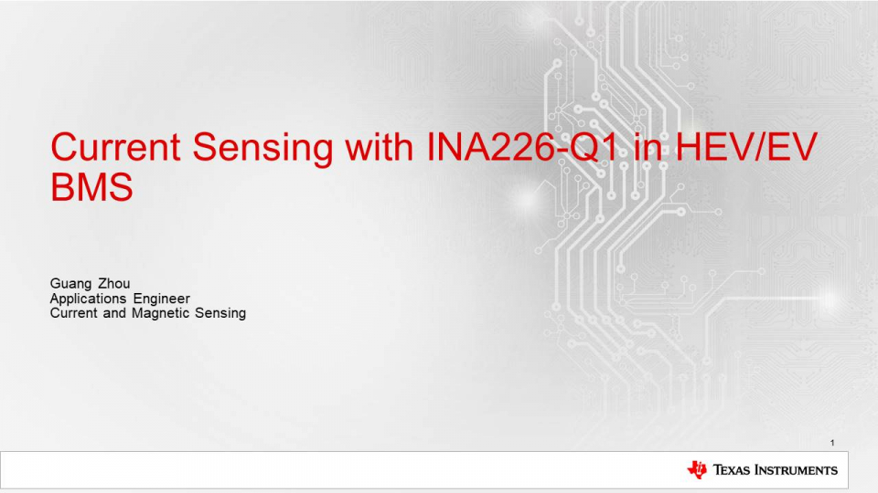 Current Sense Amplifiers in Battery Management Systems: INA226-Q1