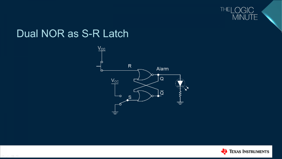 schematic for R-S Latch driving an LED