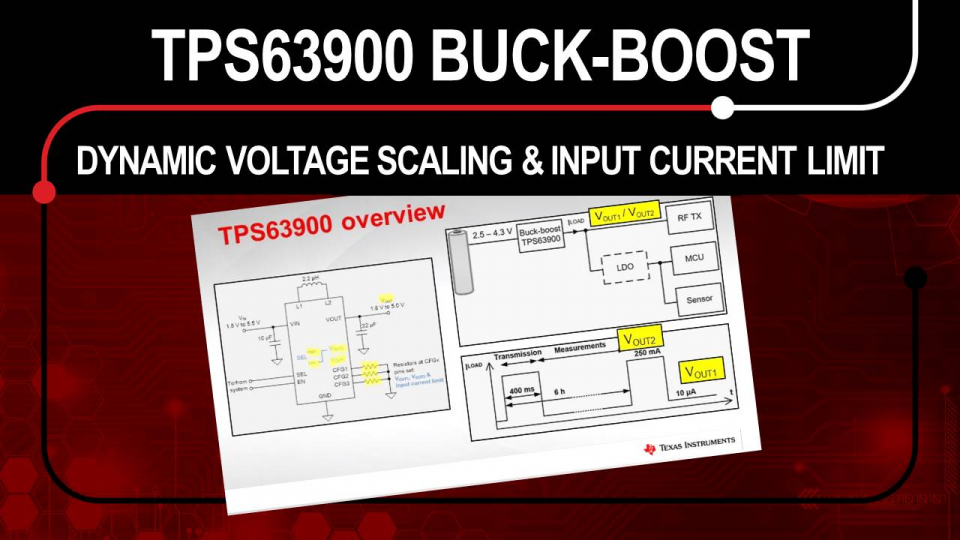 TPS63900 ultra-low Iq buck-boost converter dynamic voltage scaling and input current limit