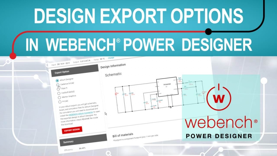 How to export webench power designer