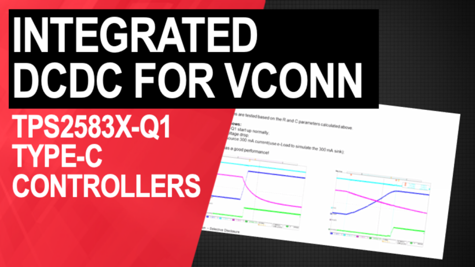 Find design considerations for powering the TPS2583x-Q1 series' VCONN with an integrated DCDC